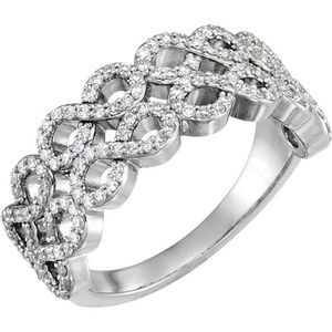 14K White 3/8 CTW Diamond Infinity-Inspired Ring